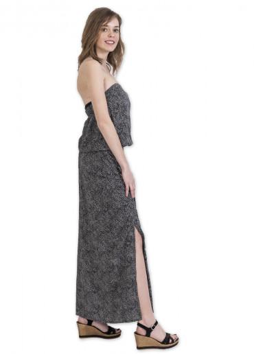 Robe Longue MILENA Imprimé 19 Noir