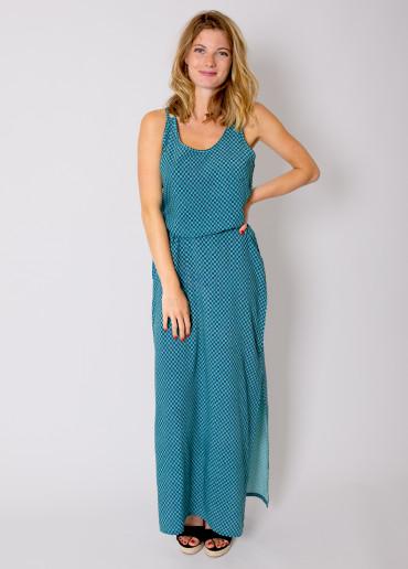 Robe Longue LAETITIA Imprimé 24 Turquoise