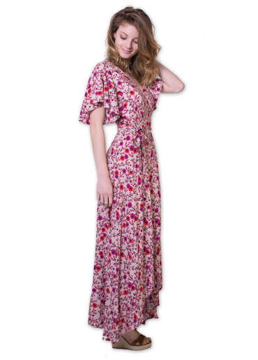 Robe Longue SAKURA Imprimé 41 Rose