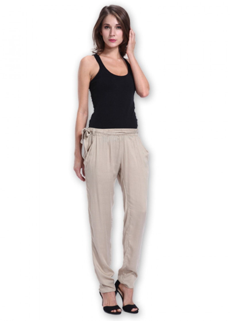 Plain Beige ALLY Trousers