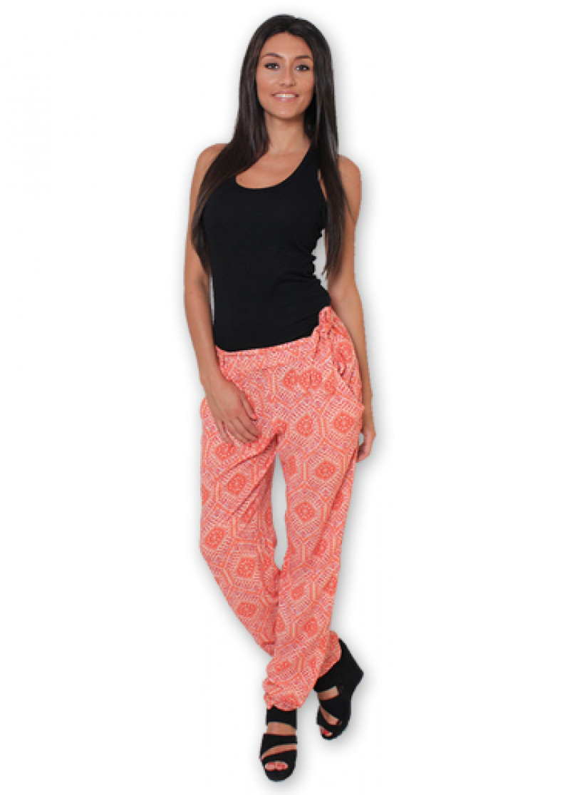 Orange Printed ALLY Trousers