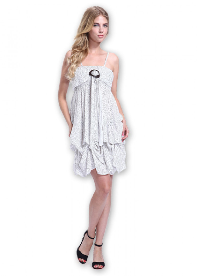 White GALINA Printed Dress
