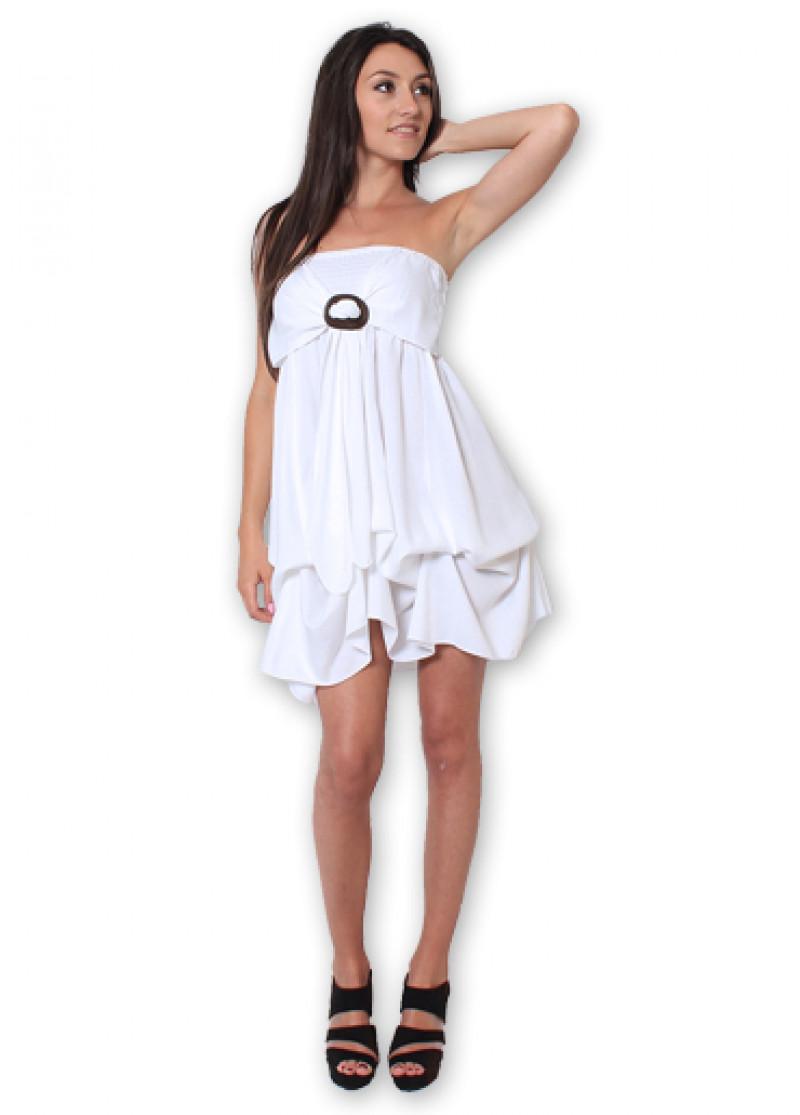 White GALINA Plain Dress