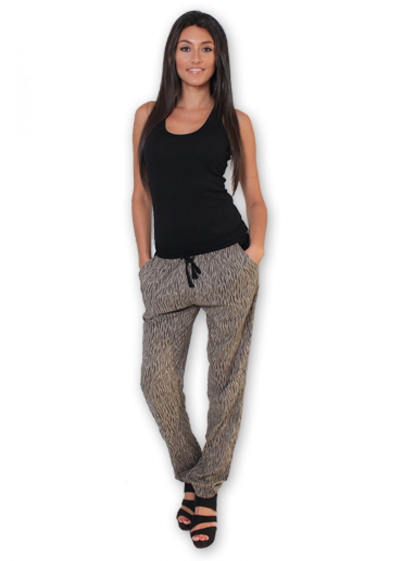 Brown LEXY Printed Trousers