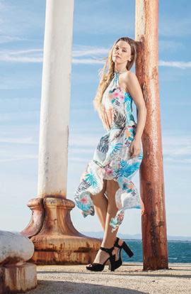 robe longue solena motifs colorés tendance